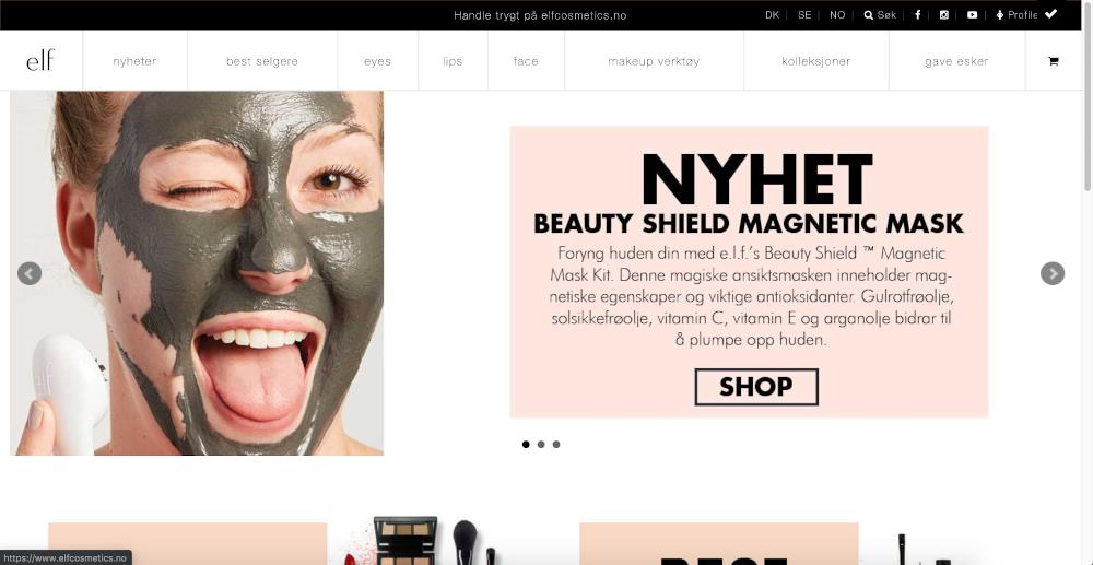 Skjermbilde av e.l.f. Cosmetics sin nettside på PC