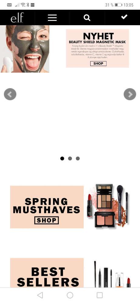 Skjermbilde av e.l.f. Cosmetics sin nettside på mobil