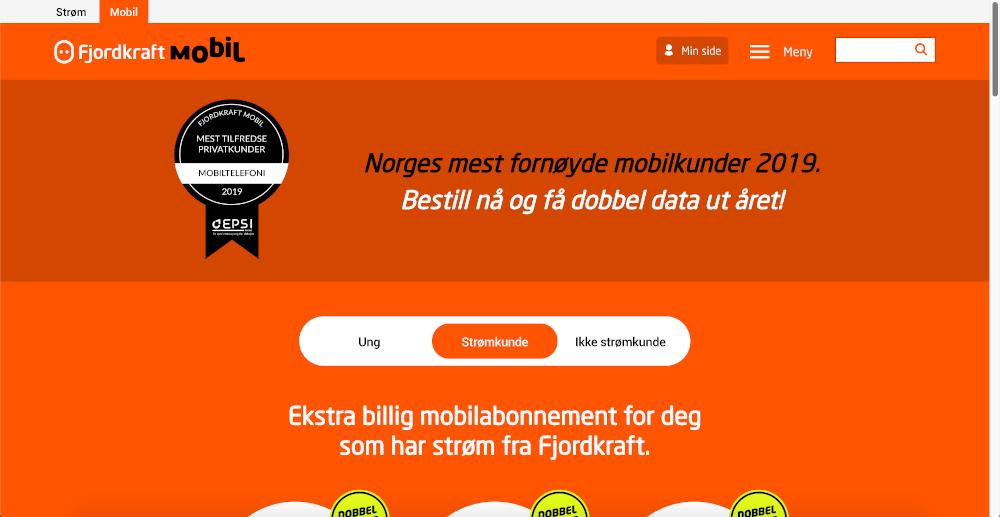 Skjermbilde av Fjordkraft Mobil sin nettside på PC