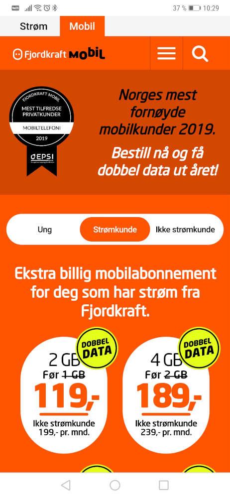 Skjermbilde av Fjordkraft Mobil sin nettside på mobil