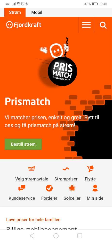 Skjermbilde av Fjordkraft sin nettside på mobil