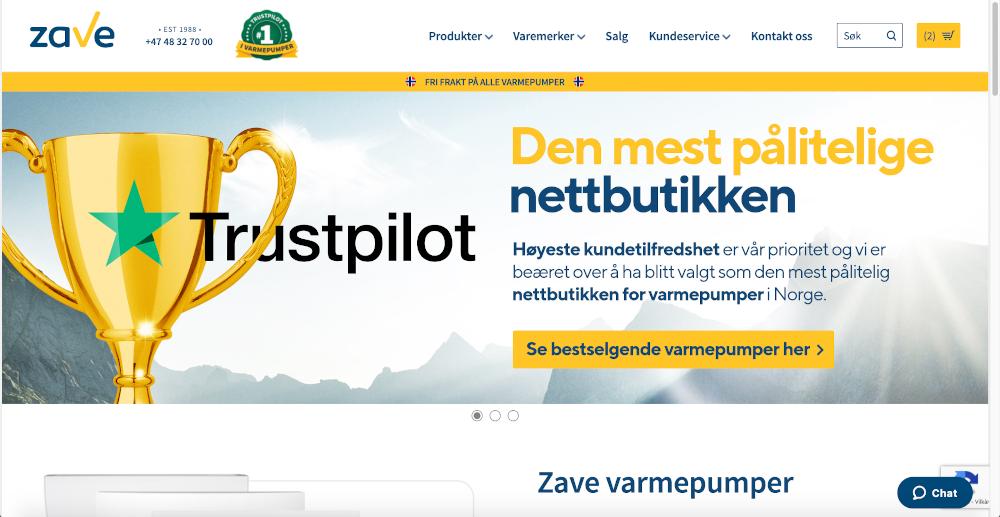 Skjermbilde av Zave Varmepumpeshopen sin nettside på PC